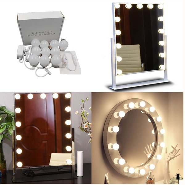 Dc5v 20w Led Vanity Makeup Mirror Lights Kit 10led Light Bulbs For Hollywood Style White Lighting Led Lamp Touch Switch Dropship Sh190925 Huge Wall