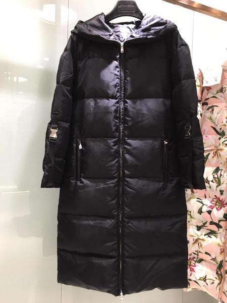 2019 automne et d'hiver nouveau canard blanc des femmes vers le bas avec col de fourrure longue veste en duvet 0903