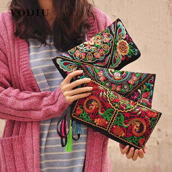 Designer Women Ethnic National Retro Butterfly Flower Bags Handbag Coin Purse Embroidered Lady Clutch Tassel Small Flap Summer Bolsa Sale