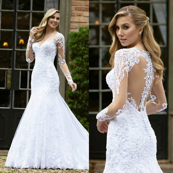 2019 Lace Plus Size Wedding Dresses Sweetheart Castle Mermaid Wedding Gown Illusion Appliqued Satin Country Bridal Dress