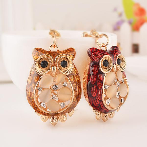Fashion chunky cute owl keychains quality crystal rhinestones keyrings enamel glazing key chain bag car animal keyring gift L40