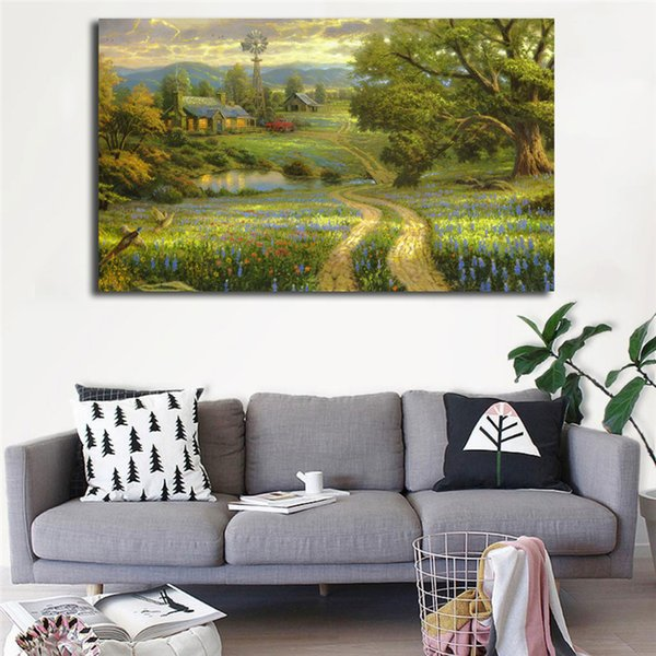 Thomas Kinkade Country Living Poster Canvas Painting Oil Framed Wall Art Print Pictures For Living Room Modern Home Decoracion Framework HD
