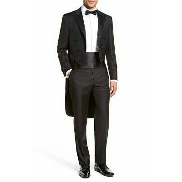 Black Tailcoat Men Suits Wedding Suits Groom Tuxedo Morning Party Bridegroom Wear Long Jacket Blazer 2Piece Coat Pants Best Man Prom Costume