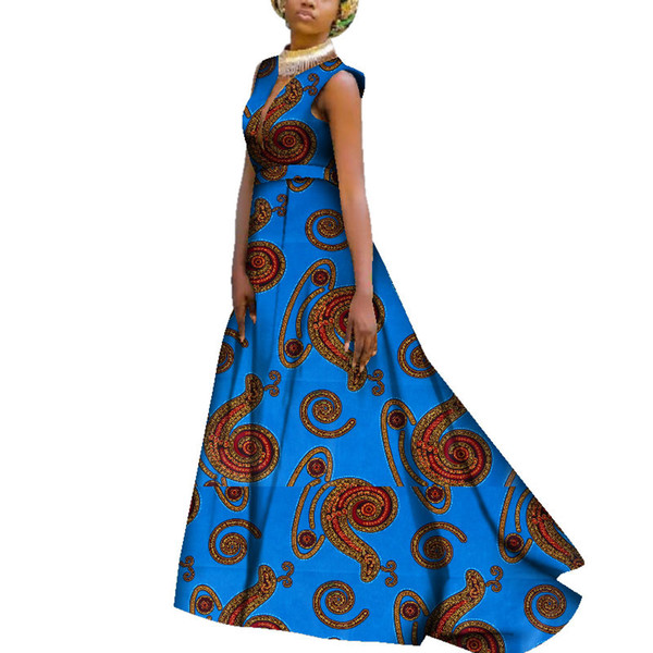 Femmes Robes Africaines Cire Africaine Imprimer Bazin Riche Dashiki Robe Longue Sexy Profonde Col En V Sans Manches Party Dress WY3703