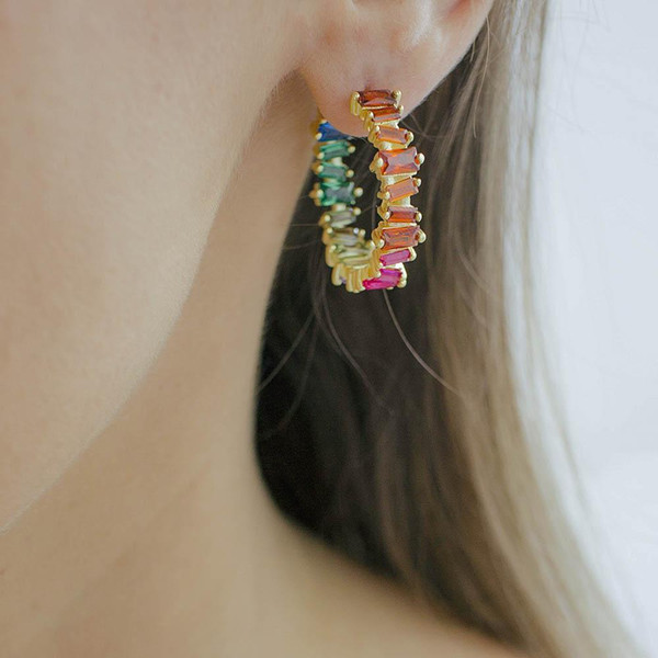 Women/'s Trendy Hoop Earrings Wedding Cubic Zirconia Huggie Pendientes Earrings