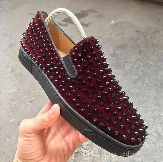 Luxuoso Wine-vermelho de veludo couro Carregadeira rolo Boat Spikes Sneakers vermelha macia inferior Oxoford Walking Fashion Dress Wedding Party