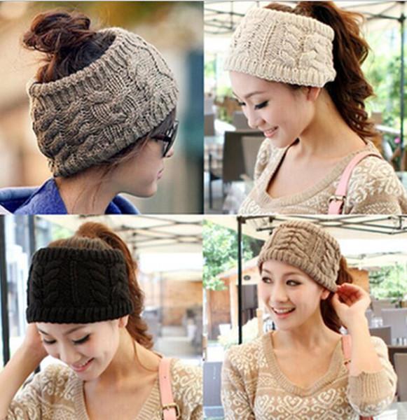 Chapéus de grife das mulheres do Rabo De Cavalo gorros Crochet Malha headband Inverno Skullies turbante headwrap Tampas Quentes Feminino Malha faixas de cabelo à moda