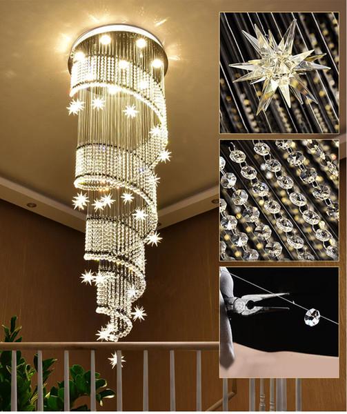 Moderno LED largo espiral escalera de cristal araña de iluminación diseño redondo pasillo creativo restaurante colgando accesorios de luz