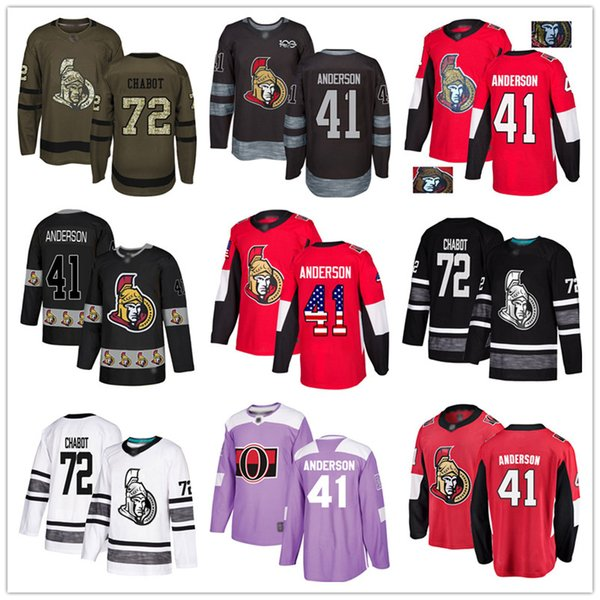 top popular Custom Ottawa Senators 41 Craig Andersen 44 Jean-Gabriel Pageau 9 Bobby Ryan 72 Thomas Chabot USA Flag hockey jerseys 2019
