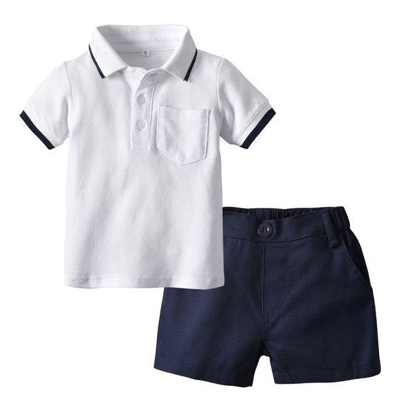 0-5years Babyjungen stattliche Outfits weißes Marinefarbpolohemd + shorts 2 PC-Satz Anzug für Kinder Jungenkindersommer-Kleidungssatz
