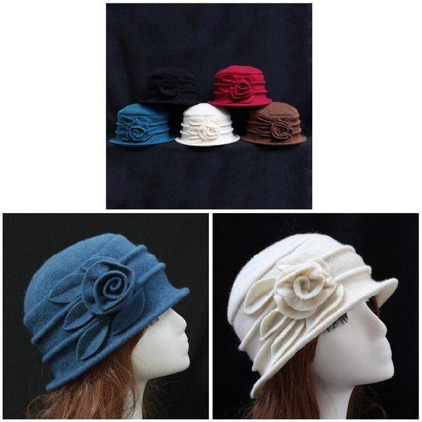 Moda Kadınlar Yün Floppy Fedora Şapka Sonbahar Kış Katı Sıcak anne Çiçek Cap FDC99