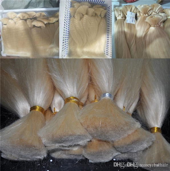 Top Grade Human Hair Extensions In Bulk No Wefts Cheap Price 613 Bleach Blonde Color Bulk For Braids 300Gr Lot, Free Shipping
