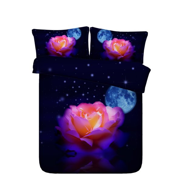Rainbow Rose Eiffel Tower Duvet Cover Set Galaxy Universe 3 Piece Bedding Set With 2 Pillow Shams Colorful Flowers Coverlet Black Bedspread