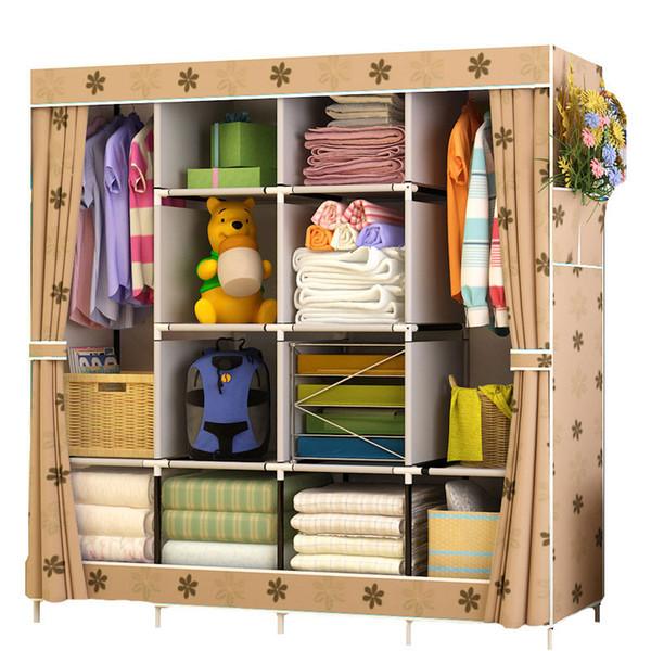 Melhor Preço Reforço Grande Wardrobe de pano Roupeiro Tecido Closet Folding roupa gabinete de armazenamento Dustproof Wardrobe