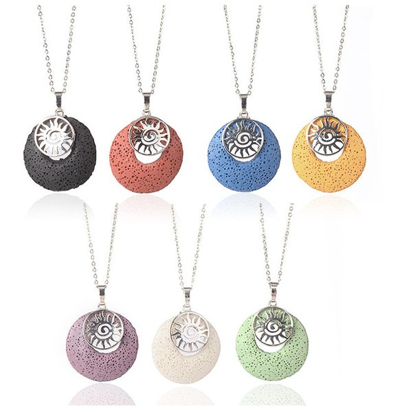 Sun Shape Colourful Lava Stone Pendant Necklace Aromatherapy Essential Oil Perfume Diffuser Necklace for Women Men Jewelry