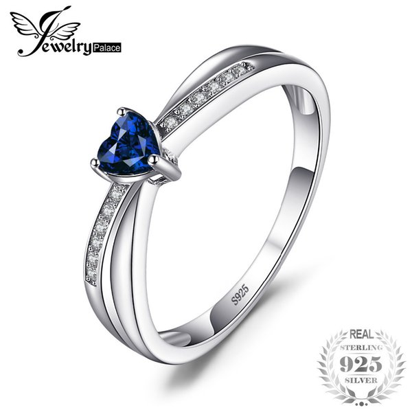 749b0c904d Jewelrypalace Love-heart 0.38ct Created Sapphires Engagement Ring For Women 925  Sterling Silver Jewelry