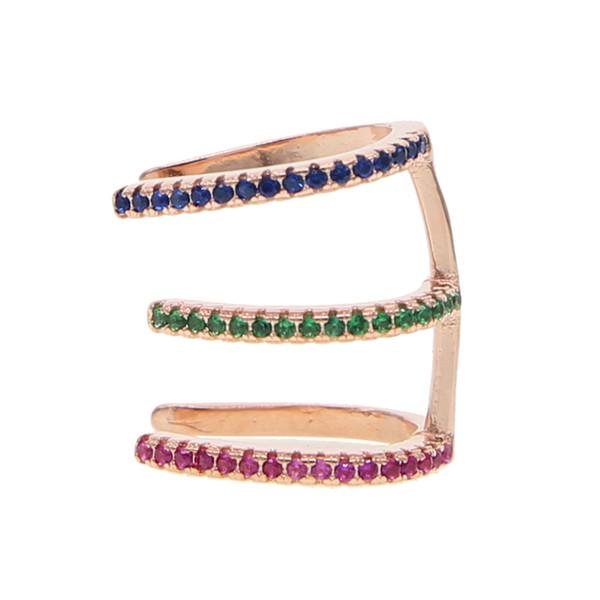 2019 Clip On Earrings Rose gold farbe CZ drei kreis Ohr Manschette Pendientes De Clip Frauen charme Ohrring kein piercing einstellen schmuck