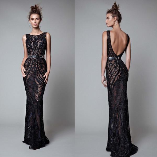 Berta Beading Backless Evening Dresses Black Full Lace Mermaid Prom Gowns Floor Length Formal Dress Custom Made E012
