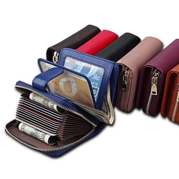 Ladies card bag Card sleeve Top layer leather Wallet Wear resistance Multifunctional Wallet Driving license Wallet