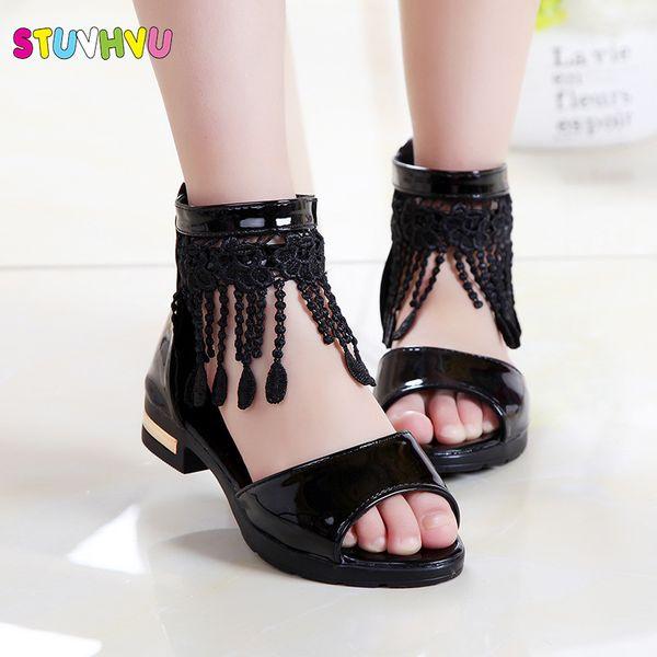 Romano de verano para niñas de encaje borla niños sandalias nueva boca de pescado zapatos de princesa negro blanco rosa tamaño 27-36 moda Q190601