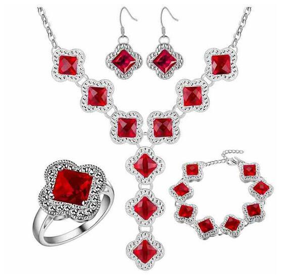Thick silver plated jewelry set 925 jewelry wholesale wholesale red gem fashion set