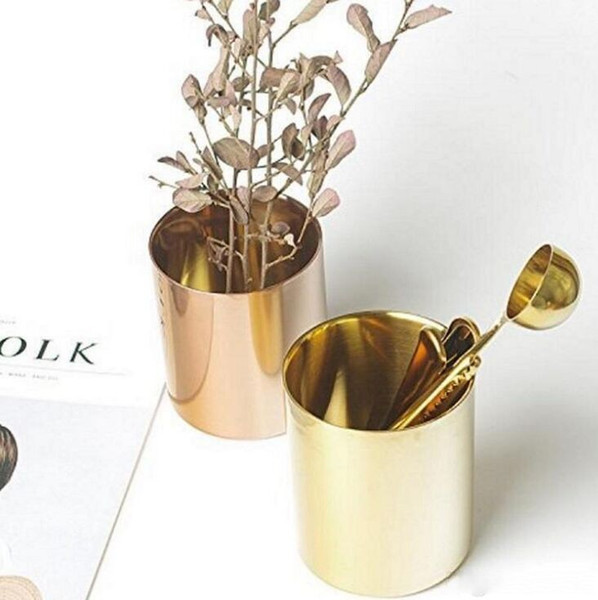 400ml Nordic Style Brass Gold Vase Stainless Steel Cup Cylinder Pen Holder for Desk Organizers W7390