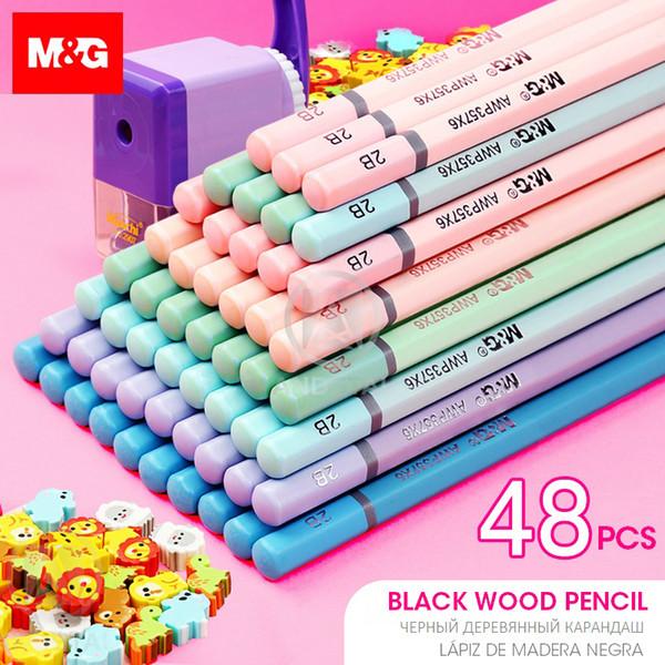 M&G 72pcs/lot Cute Pastel Color Black Wood Pencil HB 2B Wooden Lead Pencils Graphite Drawing Sketch Pencil set for School kids
