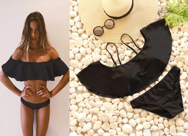 Sexy Bikini Swimwear Women Push Up Female Fashion One-neck Off Shoulder Black And White Bandeau Swimsuit Ladies Brazilian Beach Bathing Suit