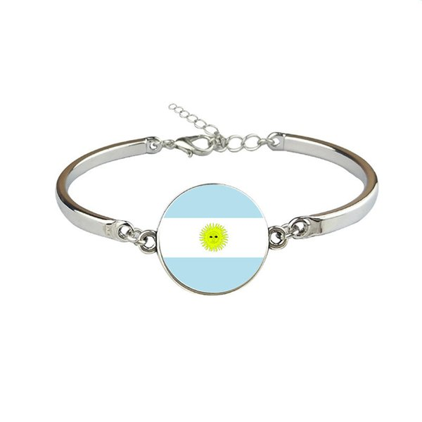 Argentina National Flag World Cup Football Fan Time Gem Glass Cabochon Button Bracelets & Bangles Link Chain Cuff Jewelry Gift For Men Women