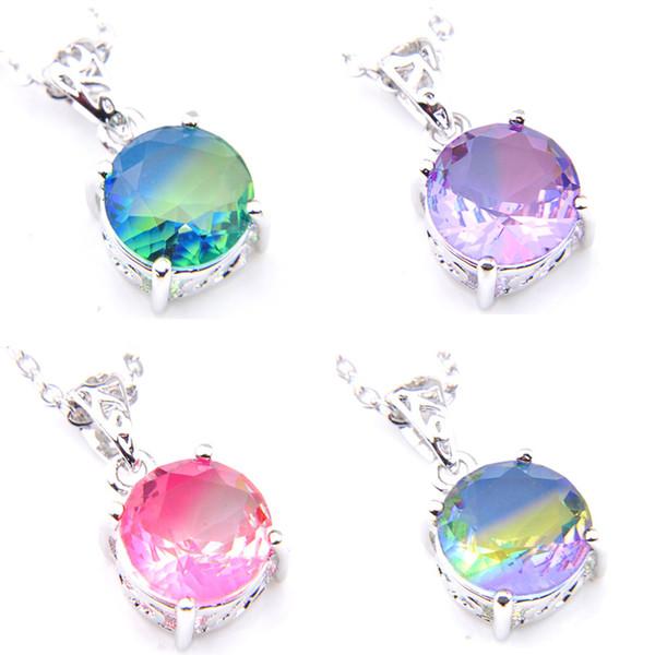 Fashion Jewelry Luckyshine 4 Pcs Lot Mix Color Bi-Color Tourmaline Gemstone 925 Silver Necklaces Pendant Women Party Weddings Jewelry Gift