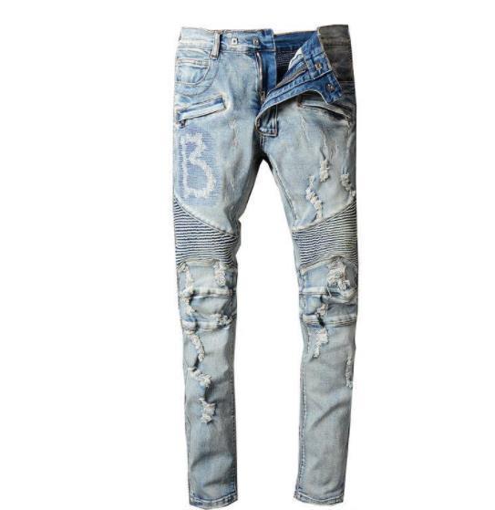 top popular 2019 Bal Mens Distressed Ripped Biker Jeans Slim Fit Motorcycle Biker Denim For Men Fashion Designer Hip Hop Mens Jeans Good Quality 2019