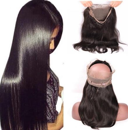 360 Frontal del merletto banda diritta sottile naturale con capelli del bambino Virgin brasiliana diritta 360 Pizzo frontale Chiusura