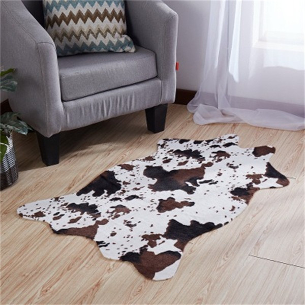 best selling Imitation Cow Skin Pattern Bedroom Carpet Horse Stripe Printing Latex Non Slip Mat Black And White House Room Popular Used 26xy H1