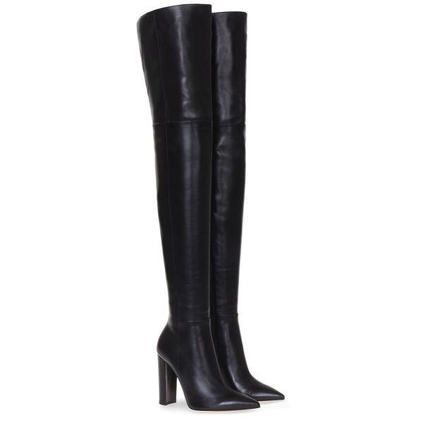 Moda Diz Üzerinde Kadın Çizmeler Çıplak Deri Kalın Yüksek topuklu Uyluk Kadın Çizmeler Siyah Gece Kulübü Elbise Ayakkabı Büyük Boy 34-45