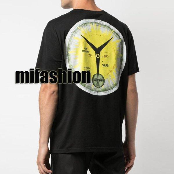 2019 Été Luxe Europe France Paris Dieu Soleil solaire Horloge T-shirt Mode Hommes Femmes Planche à roulettes T-shirt de coton de haute qualité T Taille asiatique