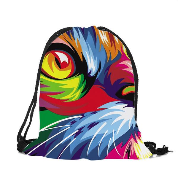 Latest Oil Painting Shoulder Bags Cat Print Polyester Backpacks Women Girls Travel Drawstring Bag Men Gym Sport Backpack