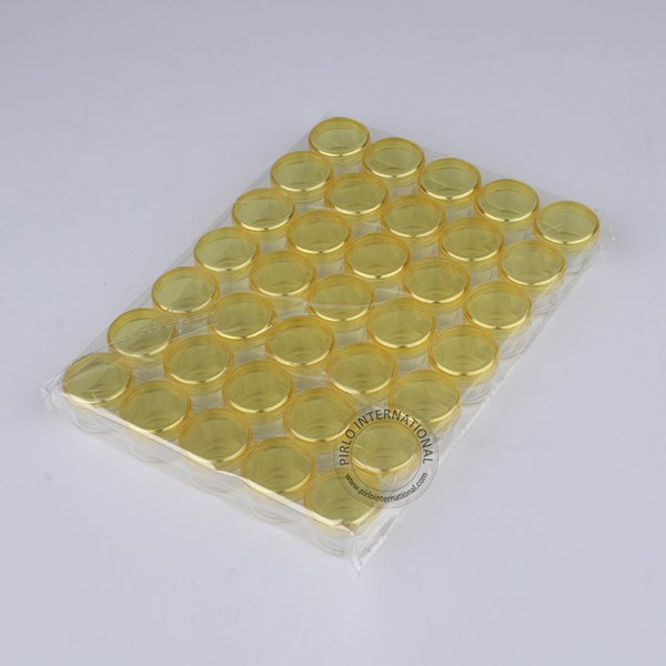Frete grátis 35 x 5g Tampa amarela de plástico creme Jar Mini recipientes vazios PS amostra para pó, Nail Art Cosmetic Armazenamento Pot Box