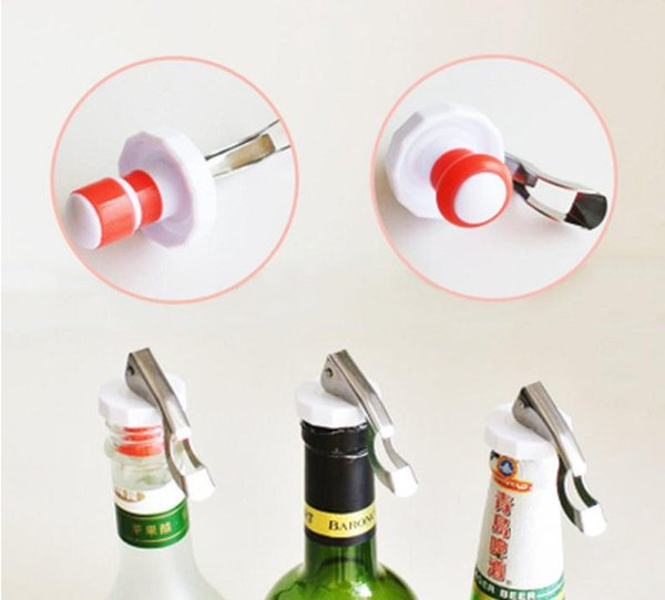Multifunctional Beer Red Wine Tool Stainless Steel Bottle Opener&silicone Cork Wine Stopper Creative Kitchen Accessories LZ1252