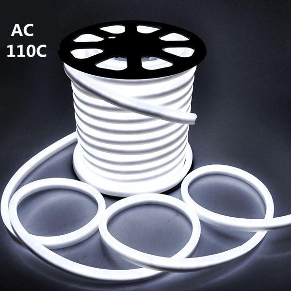 AC 110V Neon Halat LED Şerit Tek Renk 50 Metre açık IP67 1 metre GÜÇ KAYNAĞI kesilebilir ile 5050 SMD Işık 60leds / M