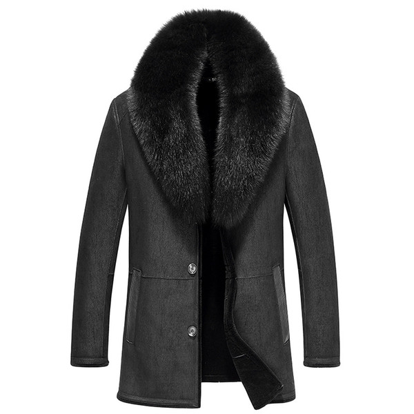 Leather Jacket Men Sheep Shearling Fur Coats Real Fox Fur Collar Wool Coat Winter Jacket Jaqueta De Couro 37-1879 YY507