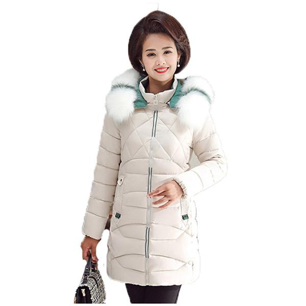 winter mom parka women black plus size hooded  jacket 2019 new leisure long sleeve fur collar fashion warmth clothing jd703