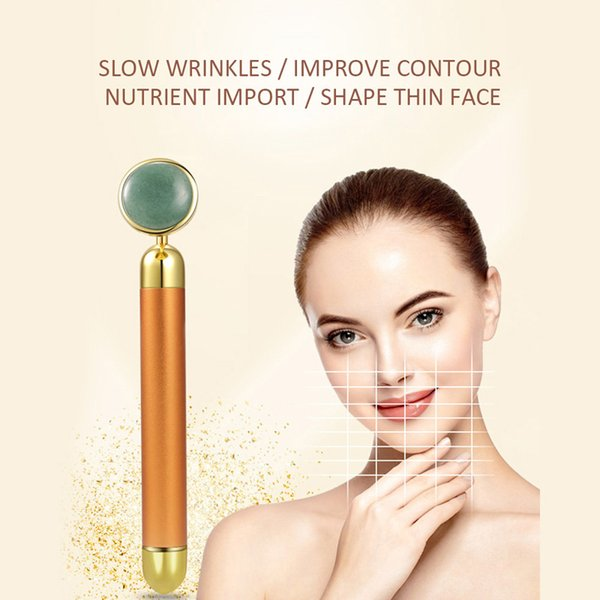 top popular Gold Beauty Bar Vibration Facial Roller Electric Massager with Jade Head Anti-wrinkle Derma Skincare Wrinkle Treatment Face DHL 2019