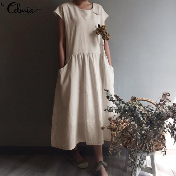 Celmia 2019 Estate Vinatge donne pieghettato lungo abito di lino camicia casual manica corta allentato maxi vestidos veste plus size estivo y190507