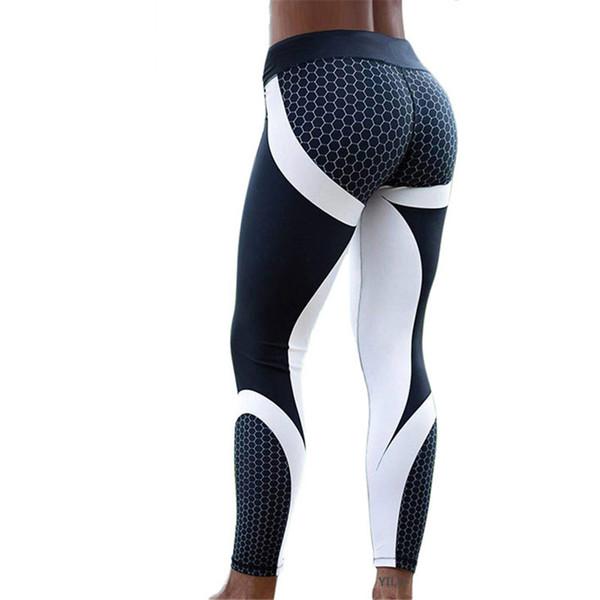 Pattern Mesh Print Леггинсы Фитнес Леггинсы для женщин Спортивные тренировки Леггинсы Бег Упругие Тонкие черные белые брюки