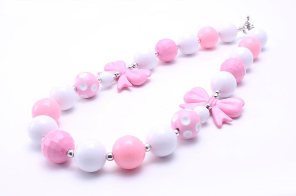 top popular Pretty Bow Fashion Kid Chunky Necklace Pink+White Color Bubblegum Bead Chunky Necklace Children Jewelry For Toddler Girls 2021