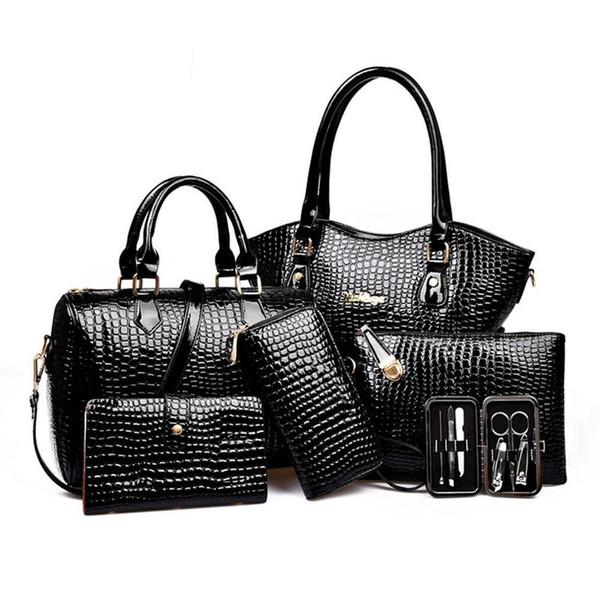 7 TEILE / SATZ Frauen Verbund Tasche Weibliche Dame Schulter Handtasche Handtasche Set Luxus Handtaschen Frauen Taschen Designer Bolsos De Marca