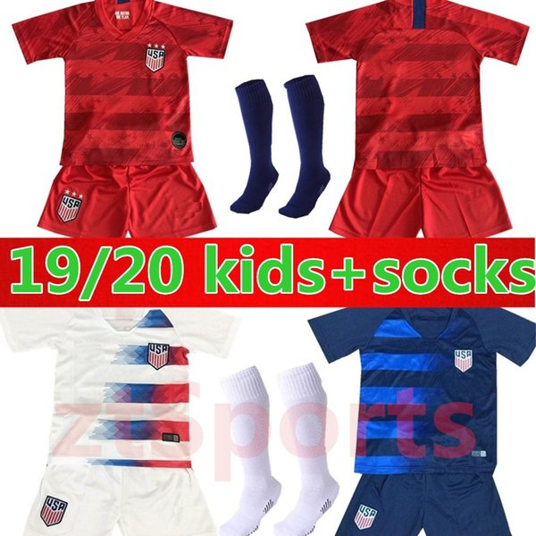 19 20 USA PULISIC Soccer Jersey 2019 kids kit+socks DEMPSEY BRADLEY ALTIDORE WOOD America Football jerseys United States Shirt