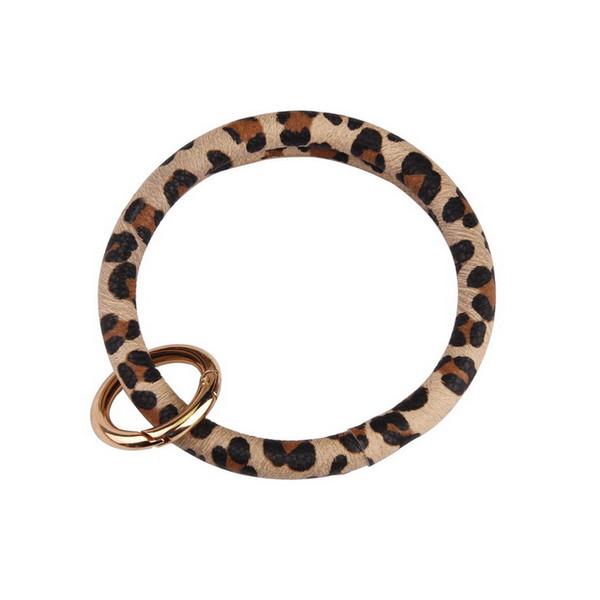 ZWPON 2019 Hot Sale Printed PU Leather Circle Bracelets Wristlet Bag Car Fob Holder Bangles Key Chain Rings Wholesale