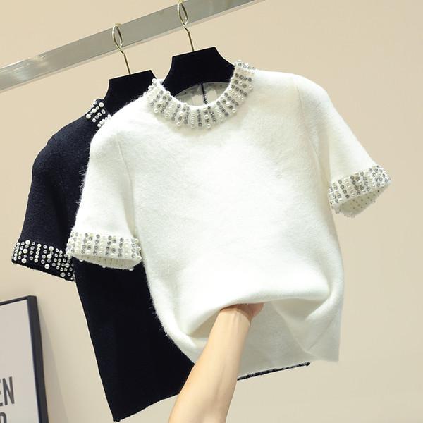 Maglioni pullover manica corta da donna a maniche corte New Spring 2019 Moda Strass bianco / nero Pullover camicia Top maglieria