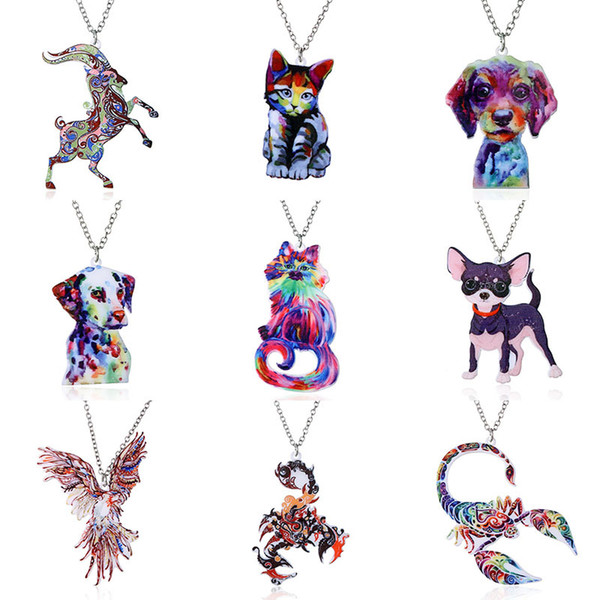 Animal Necklaces Pendant Second Gram Force Heat Transfer Acrylic Necklace Fashion Animal Sweater Chain Necklace